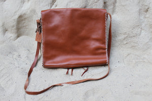 Mud Cloth + Leather Satchel