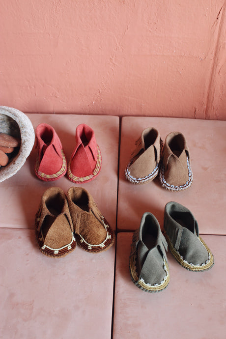 Taupe Suede Bebe Moccasins