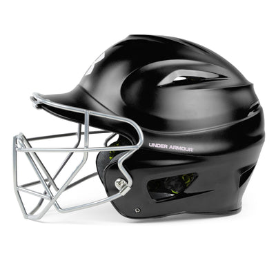 Under Armour Matte Molded Adult Baseball Helmet with Face Guard UABH-100MM-FGB2