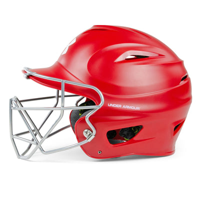 Under Armour Matte Molded Youth Baseball Helmet with Face Guard UABH-110MM-FGB2