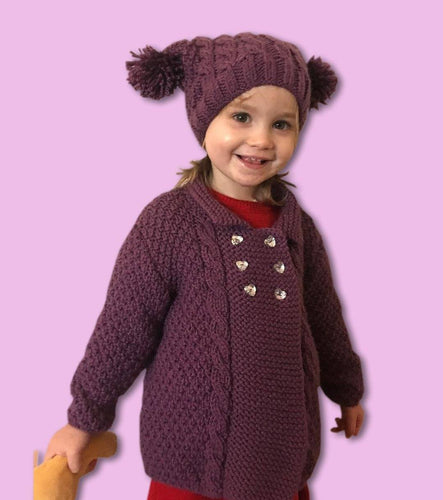 Girl's Hand Knitted Chunky Knit Jacket and Matching Hat