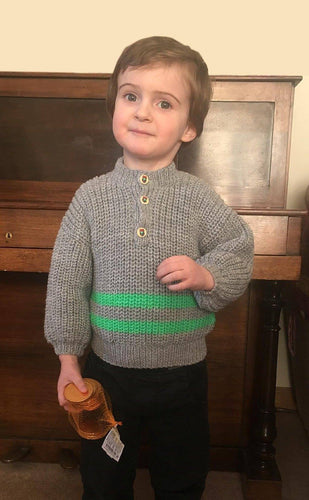 Hand Knitted Boy's Grey and Green Jumper To Fit 2 - 3 years