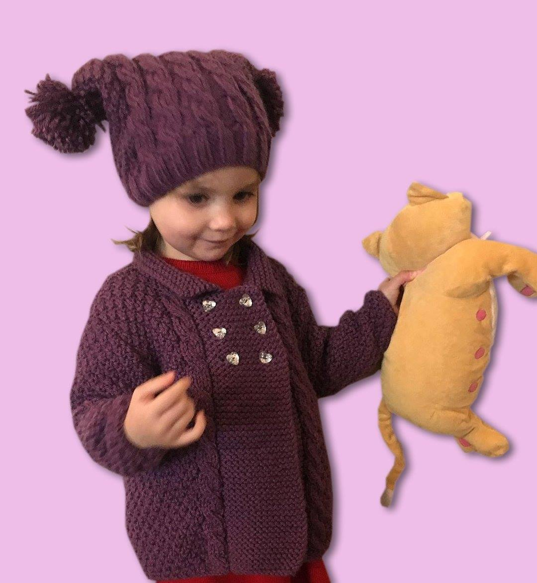 Girl s Hand Knitted Chunky Knit Jacket and Matching Hat – Scottish ... d747272eeb7f