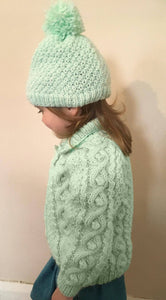 Child's Hand Knitted Chunky Yarn Jacket And Matching Hat - Fits Age 2 - 3 years
