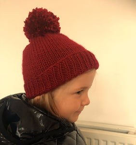 Hand Knitted Girl's Hand Knitted Red Chunky Yarn Beanie Hat