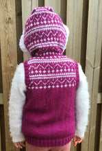 Load image into Gallery viewer, Hand Knitted Girl's Sleeveless Fair Isle Hoodie - Age 3 - 4 years