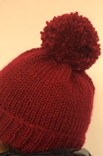 Load image into Gallery viewer, Hand Knitted Girl's Hand Knitted Red Chunky Yarn Beanie Hat