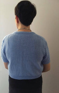 Hand Knitted  Short Sleeved Woman's Blue Bolero/Shrug
