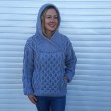 Load image into Gallery viewer, Hand Knitted Woman's Hooded Sweater