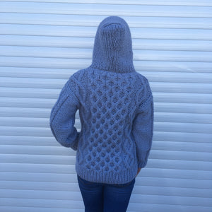 Hand Knitted Woman's Hooded Sweater
