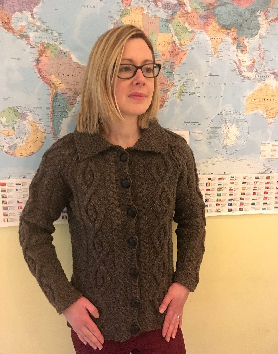 Woman's Hand Knitted Pure Scottish Aran Wool Cardigan