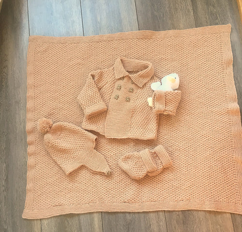 Matching Baby Boy Blanket, Helmet, Jacket and Bootees - Fits age 0-6 months