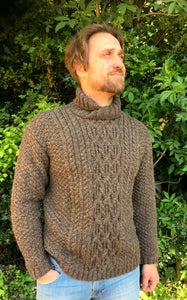 Man's Hand Knitted Pure Scottish Aran Wool Sweater
