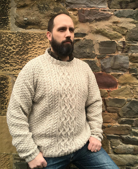 Hand Knitted Pure Aran Wool Sweater