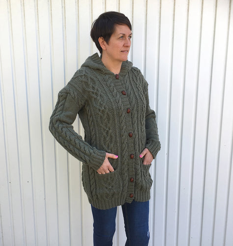 Hand Knitted Woman's Long Cardigan with Hood, Two Pockets and Cable Pattern Design