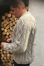 Load image into Gallery viewer, Man's Hand Knitted Pure Scottish Aran Wool Jumper