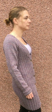Load image into Gallery viewer, Woman's Hand Knitted Pure Wool Long Line Cardigan