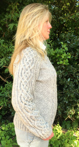 Hand Knitted Women's Pure Scottish Aran Wool Jumper