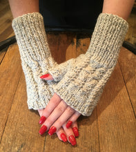 Load image into Gallery viewer, Hand Knitted Pure Aran Wool Fingerless Mittens