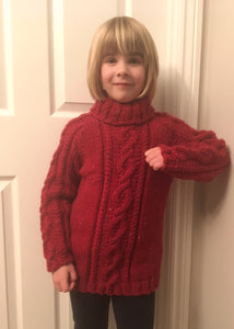 Hand Knitted Child's Jumper In Chunky Wool Yarn - Fits Age 7 - 8 years