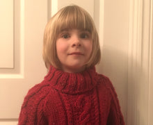 Load image into Gallery viewer, Hand Knitted Child's Jumper In Chunky Wool Yarn - Fits Age 7 - 8 years