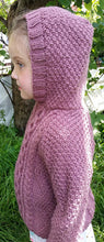 Load image into Gallery viewer, Hand Knitted, Cable Pattern Girl's Hooded Jumper - Age 4 - 5 years