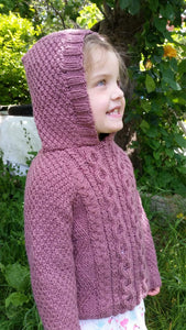 Hand Knitted, Cable Pattern Girl's Hooded Jumper - Age 4 - 5 years