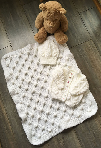 Hand Knitted Baby Girl Matching Set Of Blanket, Cardigan and Hat