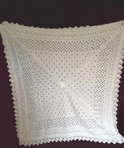 Hand Knitted Lace White Shawl For Baby