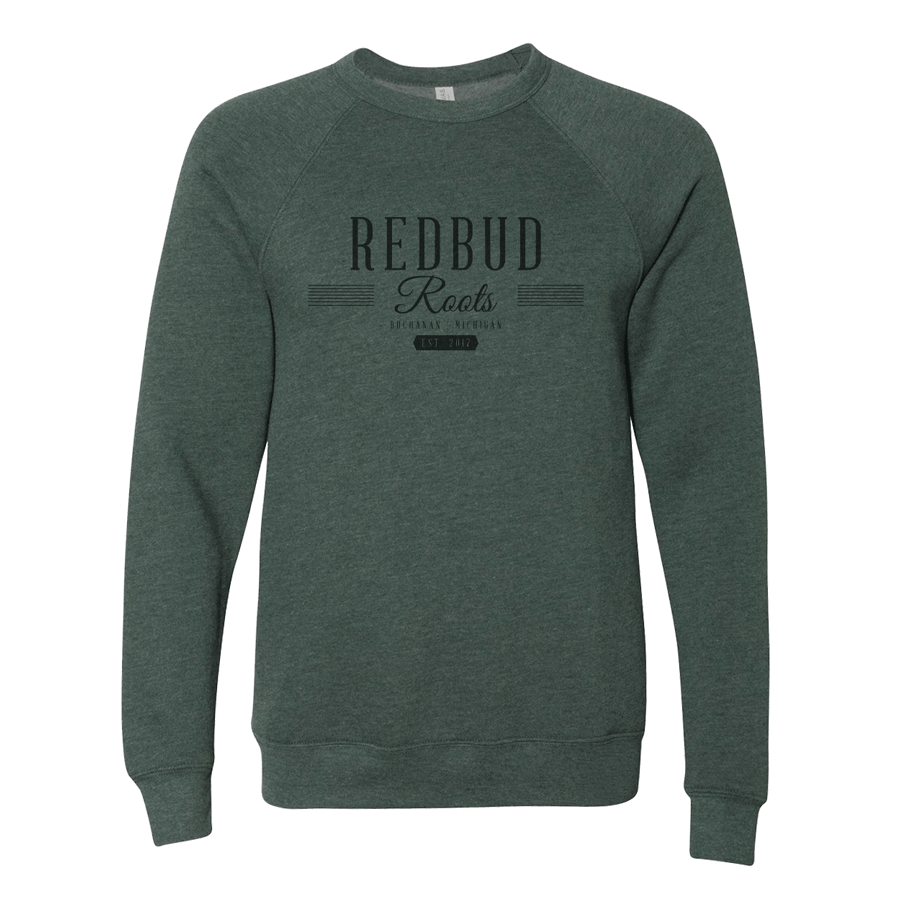 Redbud Roots Signature Crewneck Sweatshirt, Heather Forest