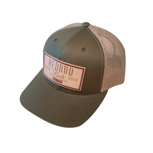 RBR Flat Brim Trucker Hat with Over Sized Faux Leather Patch, Snapback