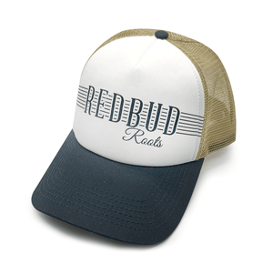 Red Bud Roots Signature Twill Mesh Back Trucker Hat, Tri-Color