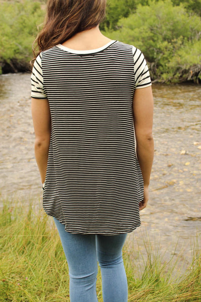 Front Pocket Striped Top