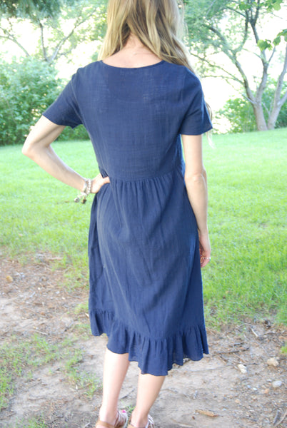 Linen Dress With Trim At Chest