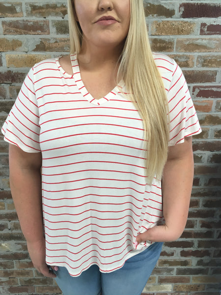 Stripe cut out V-Neck - Plus