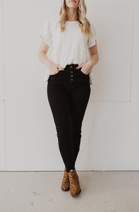 Kan Can Black High Waist Button Jeans