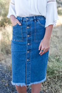 Midi Denim fray hem skirt