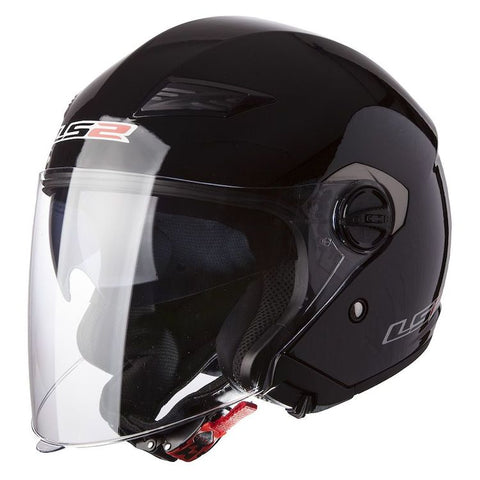 LS2 OF569 Track Solid Black Motorcycle Helmet - Parts Junkie