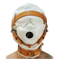 Total Sensory Deprivation White Leather Hood - Fun and Kinky Sex Toys