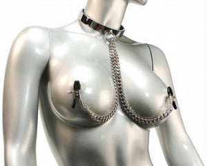 Chrome Slave Collar with Nipple Clamps - Fun and Kinky Sex Toys