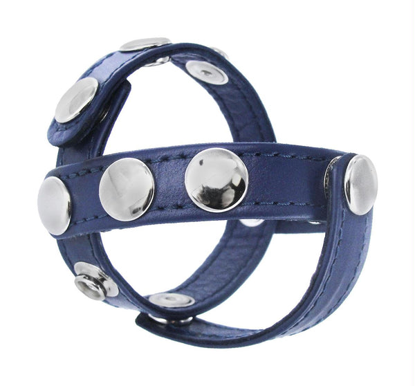 Blue Leather Cock and Ball Harness - Fun and Kinky Sex Toys