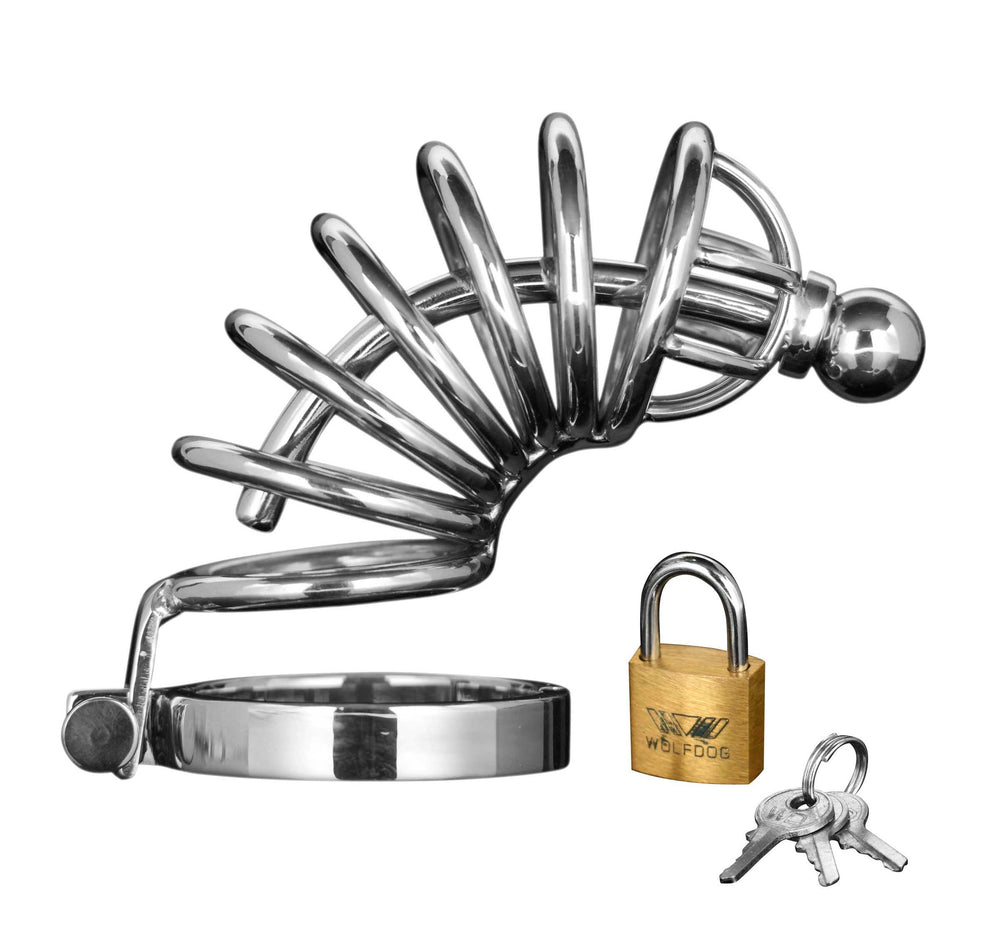 Asylum 4 Ring Locking Chastity Cage - Fun and Kinky Sex Toys
