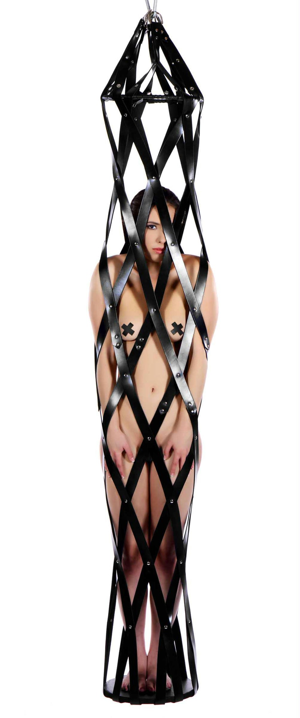 Hanging Leather Strap Cage - Fun and Kinky Sex Toys