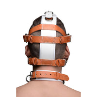 White and Tan Hospital Style Leather Muzzle - Fun and Kinky Sex Toys