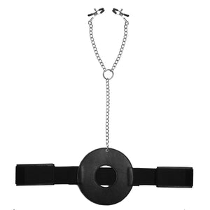 Detained Restraint System with Nipple Clamps - Fun and Kinky Sex Toys