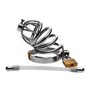 Stainless Steel Chastity Cage with Silicone Urethral Plug - Fun and Kinky Sex Toys