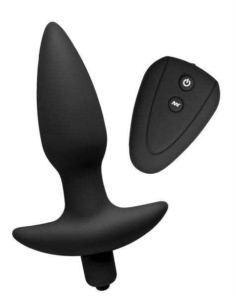 Jet Black Silicone 7 Mode Remote Anal Plug - Fun and Kinky Sex Toys