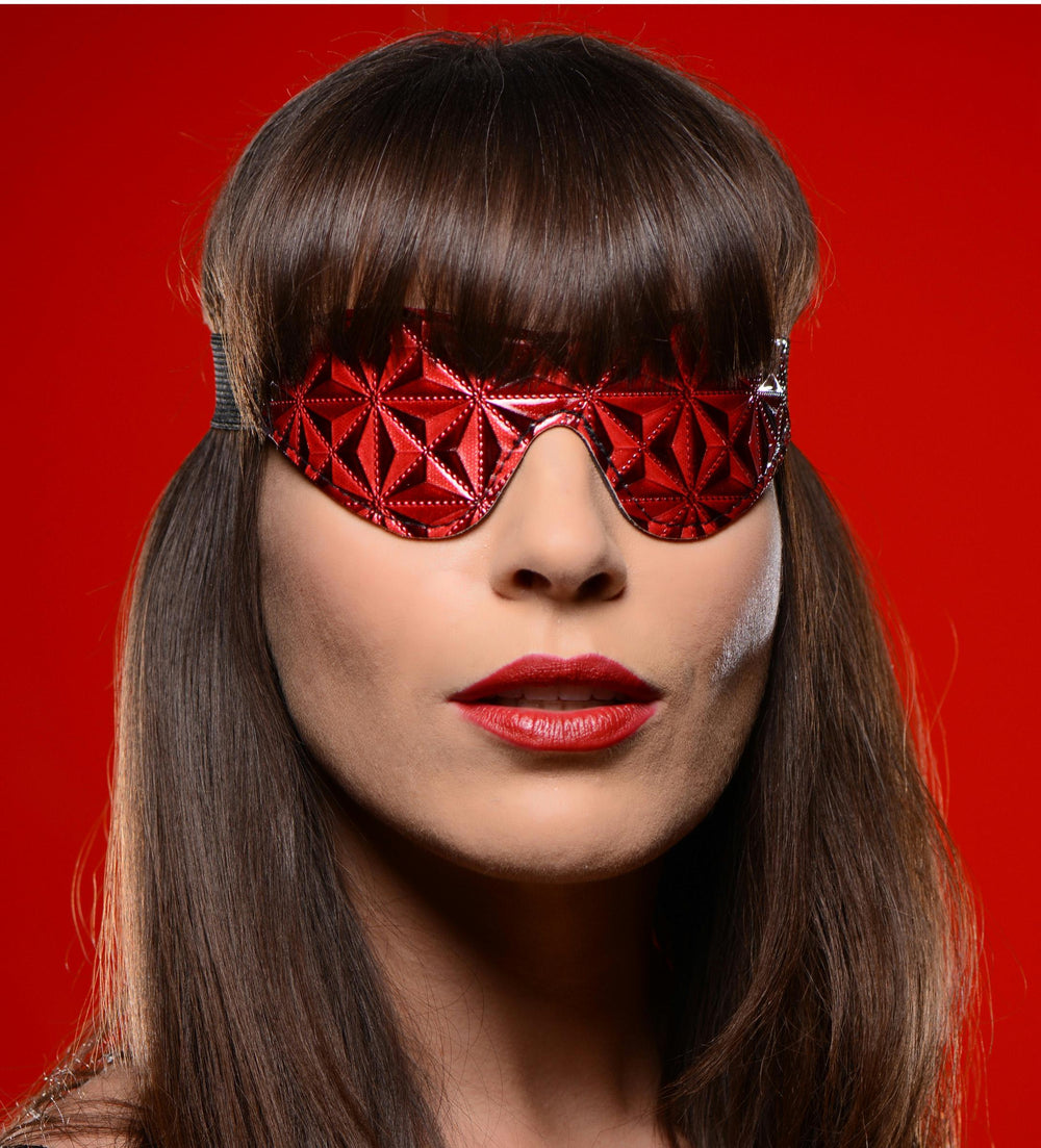 Crimson Tied Full Blackout Embossed Blindfold - Fun and Kinky Sex Toys
