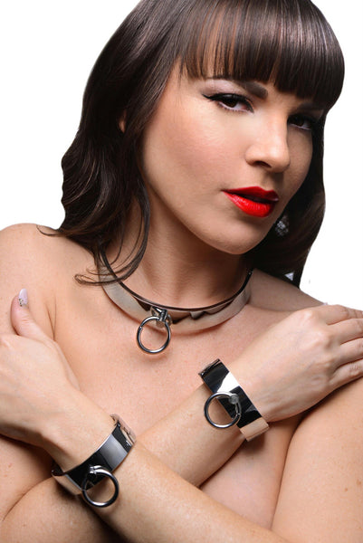 Chrome Slave Collar and Shackles Kit - Fun and Kinky Sex Toys