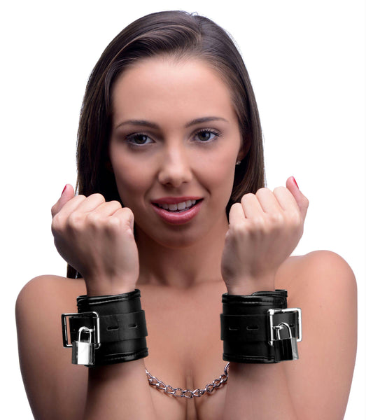 Locking Padded Wrist Cuffs with Chain - Fun and Kinky Sex Toys
